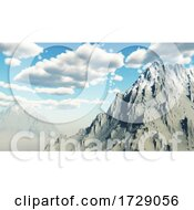 Poster, Art Print Of 3d Snowy Mountain Landscape Against Sunny Sky