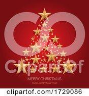 Poster, Art Print Of Christmas Tree Design Of Gold Stars 1211