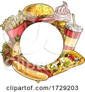 Round Junk Food Frame by Vector Tradition SM