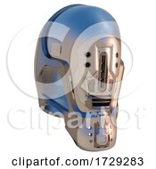 Poster, Art Print Of 3d Futuristic Sci Fi Robot Android Space Helmet In Chrome And Aluminium