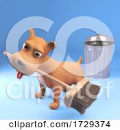 3d Cute Puppy Dog Sweeps Up With A Broom And Trashcan