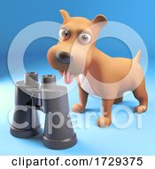 3d Cute Puppy Dog Interested In A Pair Of Binoculars