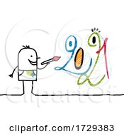 Poster, Art Print Of Stick Man Artist Painting New Year 2021