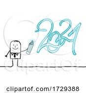 Stick Man Spray Painting New Year 2021