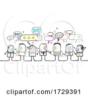 Poster, Art Print Of Stick Crowd Wearing Masks And Celebrating New Year 2021