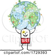 Stick Man New Year 2021 Super Hero Holding Up Earth