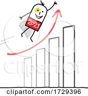 Stick Man New Year 2021 Super Hero Over A Growth Graph