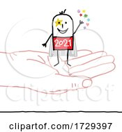 Stick Man New Year 2021 Super Hero On A Hand