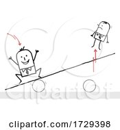 Stick Man Bouncing Another Off Of A Teeter Totter