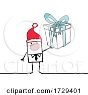 Stick Man Wearing A Mask And Holding A Christmas Gift