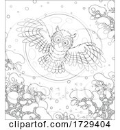 Owl Flying On A Winter Night
