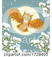 Owl Flying On A Snowy Winter Night