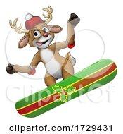Christmas Reindeer Snowboarding Snow Board Cartoon