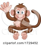 Poster, Art Print Of Monkey Cartoon Animal Waving And Pointing