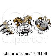 Poster, Art Print Of Bulldog Ice Hockey Player Animal Sports Mascot