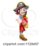 Pirate Captain Cartoon Peeking Background Sign