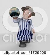 Poster, Art Print Of 3d Butcher Man On A Shaded Background