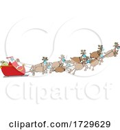 Cartoon Coronavirus Christmas Reindeer Flying Santa In His Sleigh