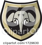 Poster, Art Print Of Elephant Head Shield Icon