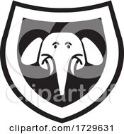 Elephant Head Shield Icon Black And White