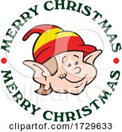 Happy Smiling Happy Smiling Christmas Elf In A Circle Of Merry Christmas Text Elf
