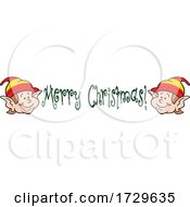 Happy Christmas Elf Faces And Merry Christmas Text