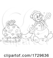 Black And White Santa Snowman Pulling A Sack On A Sled
