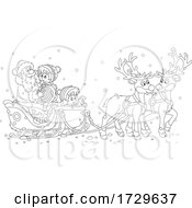 Black And White Santa Claus With Children In His Sleigh