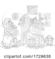Black And White Santa Claus Carrying Wood To A Fireplace