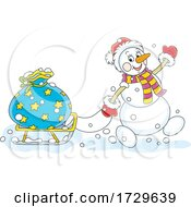 Santa Snowman Pulling A Sack On A Sled