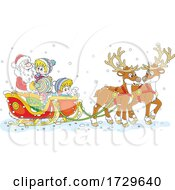 Poster, Art Print Of Santa Claus With Children In His Sleigh