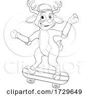 Poster, Art Print Of Christmas Reindeer Skateboarding Cartoon