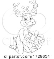 Christmas Reindeer With Gift Cartoon