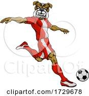 Poster, Art Print Of Bulldog Soccer Football Player Sports Mascot