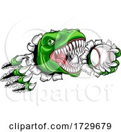 Dinosaur Baseball Player Animal Sports Mascot by AtStockIllustration