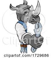 Poster, Art Print Of Rhino Plumber Or Mechanic Holding Spanner
