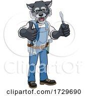Wolf Electrician Handyman Holding Screwdriver