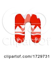 Christmas Letter N Small 3d Xmas Suitable For Celebration Santa Claus Or Winter Related Subjects On A White Background