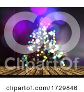 3d Wooden Table Against A Defocussed Christmas Tree Background