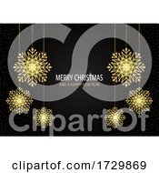 Christmas Background With Sparkling Snowflakes