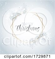 Decorative Christmas Snowflake Background With Gold Frame