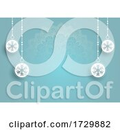 Blue Mandala Snowflake Ornament Background