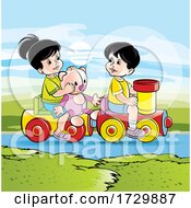 Children Playing On A Toy Train