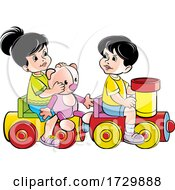 Poster, Art Print Of Kids Playing On A Toy Train