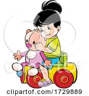 Girl Playing On A Toy Train