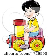 Poster, Art Print Of Boy Playing On A Toy Train