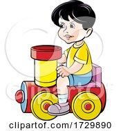 Boy Playing On A Toy Train