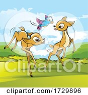 Cute Fawn Deer Playing With A Bird