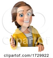 3d Casual Young Woman in Rain Gear on a White Background by Julos #COLLC1729922-0108