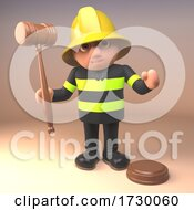 3d Fire Fighter Fireman In High Visibility Clothing With Judges Gavel